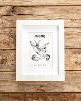 Mockup frame on wooden table