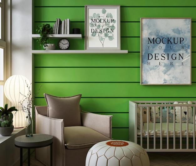 モダンなグリーンベビー寝室のモックアップフレーム
