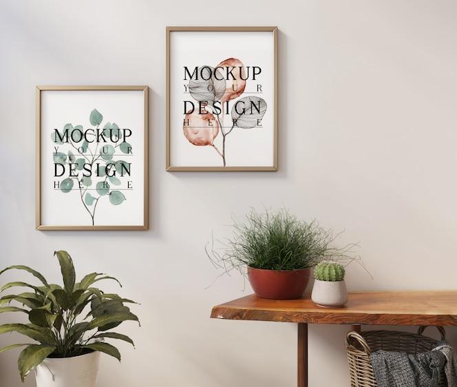식물이있는 현대적인 심플한 인테리어의 모형 프레임