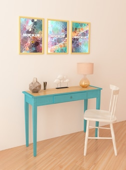 Mockup of frames above little table