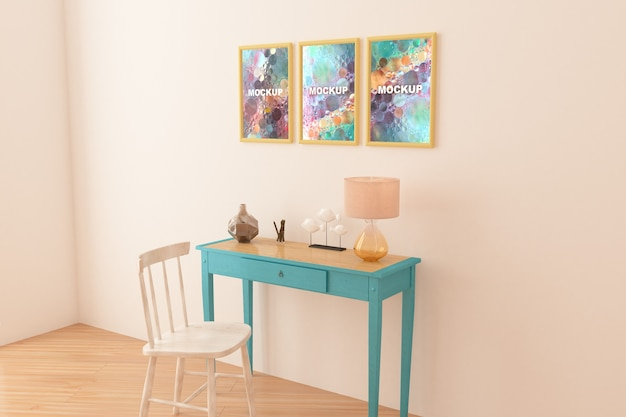 Mockup of frames above little table