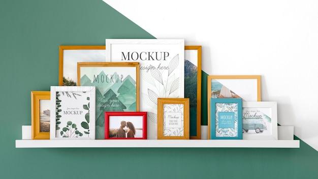 Mockup frames on shelf