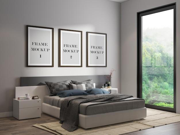 Mockup frames on wall mockup design
