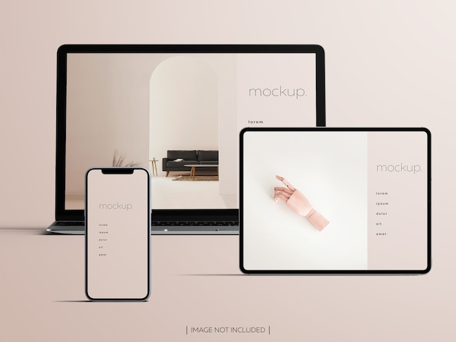 Mockup of front view isolated responsive devices screens