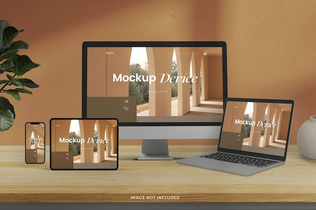 Mockup of front view realistic responsive devices screens