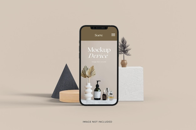 Mockup of front view realistic standing smart phone