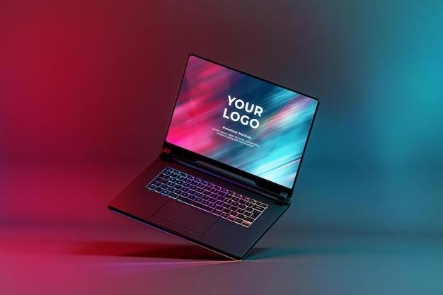 Mockup gaming laptop with rgb led keyboard glow