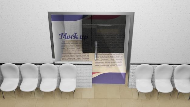 Макет стеклянной двери с логотипом или стойкой регистрации