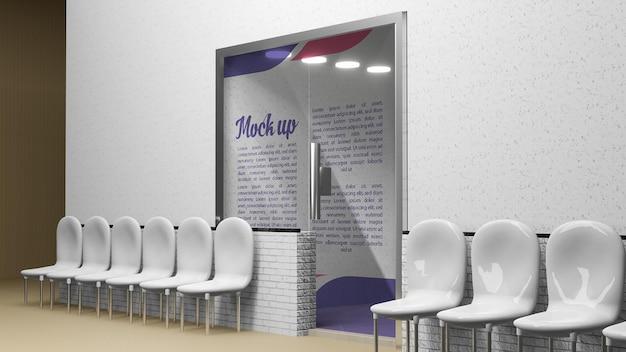 Mockup glass door logo or reception