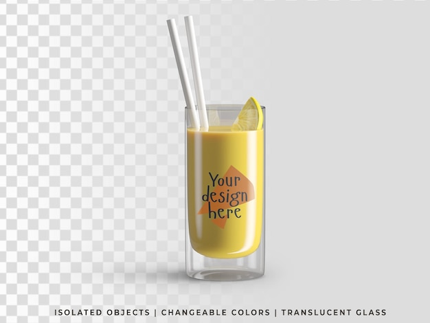 Mockup of glass summer drink with fruit juice orange slice and cocktail straw front view isolated