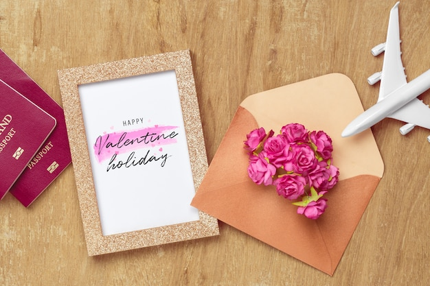 Mockup golden picture frame for travel with valentines day & love season