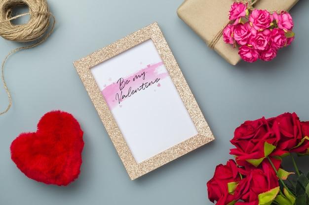 Mockup golden picture frame for valentines day concept.