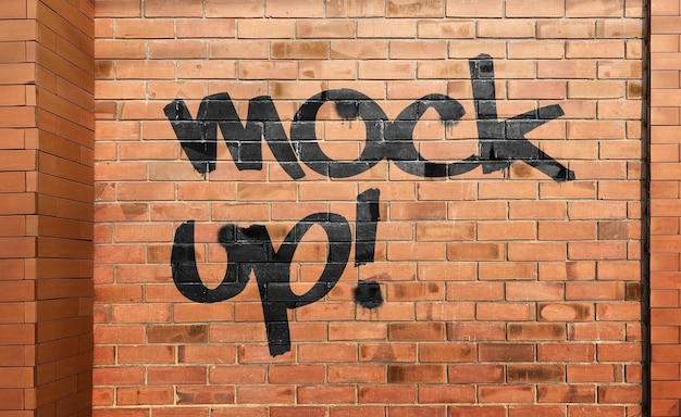 Макет граффити на кирпичной стене реалистично
