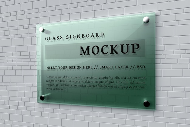 Mockup of green glass signboard pinned on wall