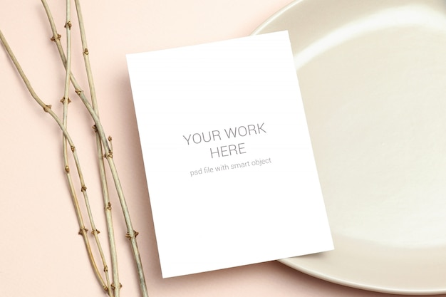 Mockup greeting card on plate