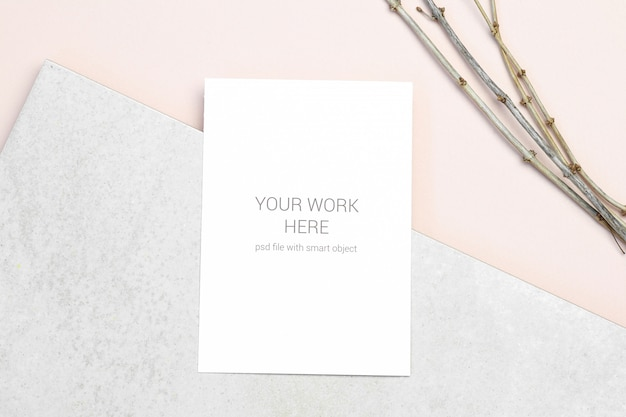 Mockup greeting card with branch