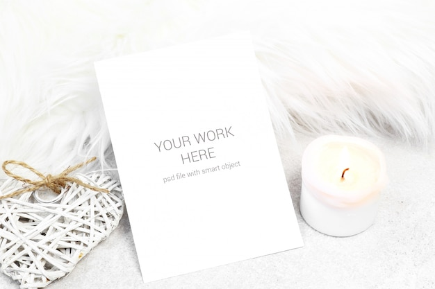 Mockup greeting card with candle and heart