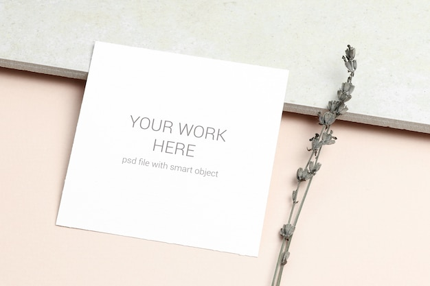 Mockup greeting card with with sprig of lavender
