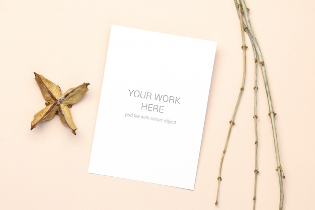 Mockup greeting card with wood branch