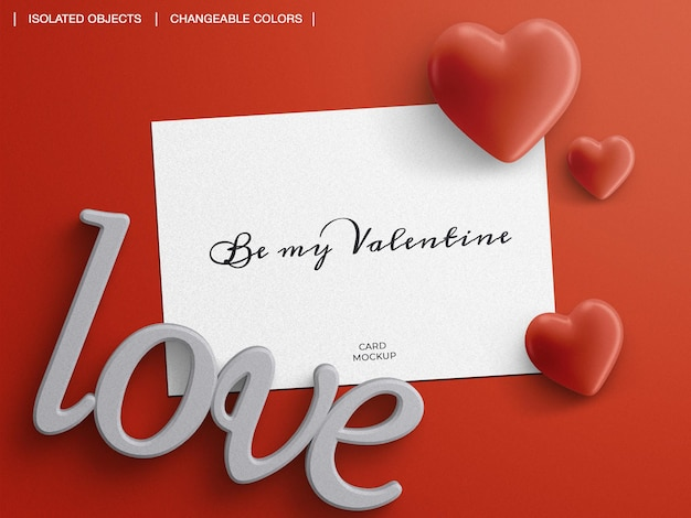Mockup of greeting post card with valentine's day decoration