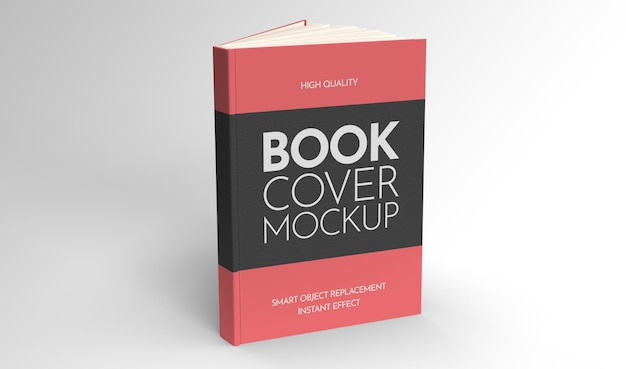 Mockup of a half-open book standing on a light background