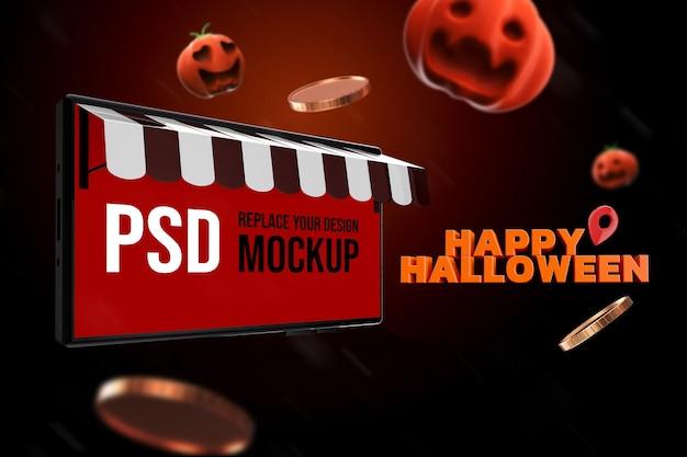 Mockup halloween smartphone design 3d rendering