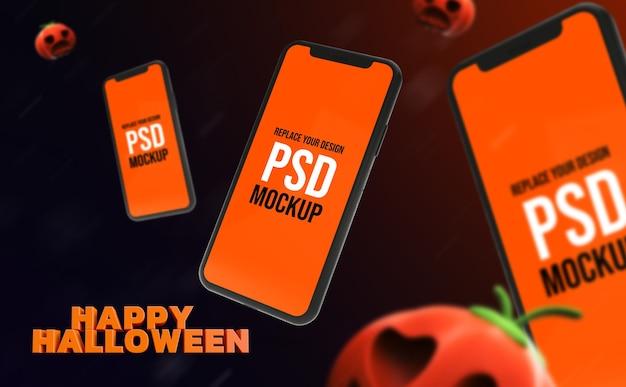 Мокап хэллоуин дизайн смартфона 3d рендеринг