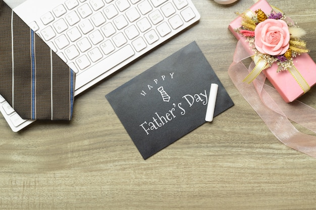 Mockup happy father's day message on chalkboard.
