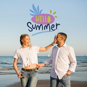 Mockup hello summer couple
