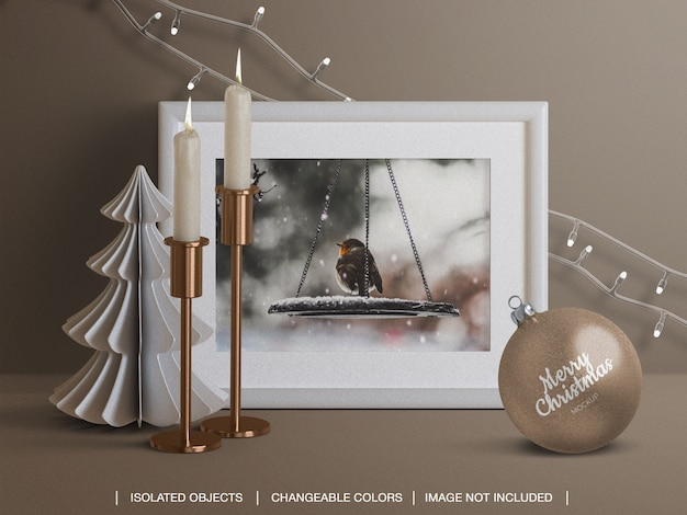 Mockup of holiday card frame and christmas ball with candles lights decoration