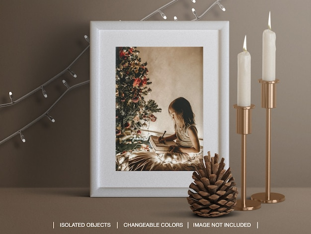 Mockup of holiday card frame with candles cone and christmas lights decoration