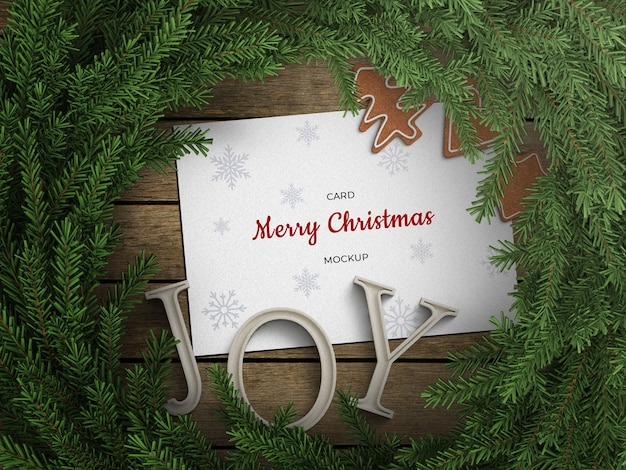 Mockup of holiday greeting card flyer with christmas wreath decoration