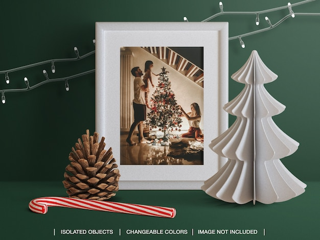 Mockup of holiday greeting photo card frame with christmas decoration scene creator
