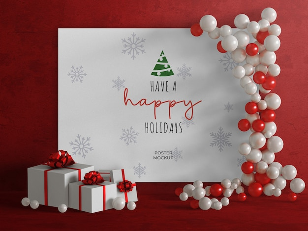 Mockup of holiday party poster with balloon decoration and christmas presents isolated