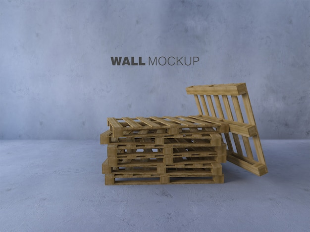 Mockup image of 3d rendering pallets placed on thr floor