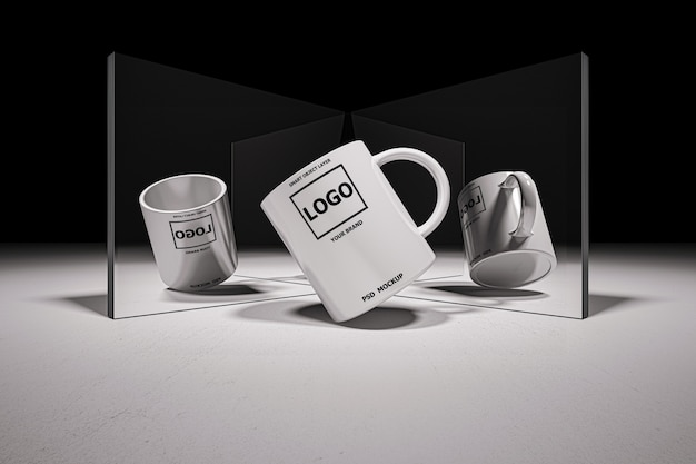 Mockup image of 3d rendering of white coffee cup