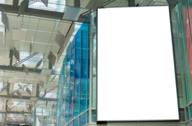 Mockup image of blank billboard posters and led in the airport terminal station for advertising