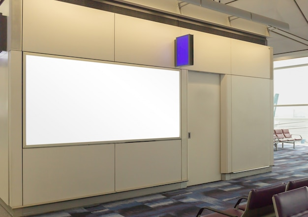 Mockup image of blank billboard posters and led in the terminal station for advertising