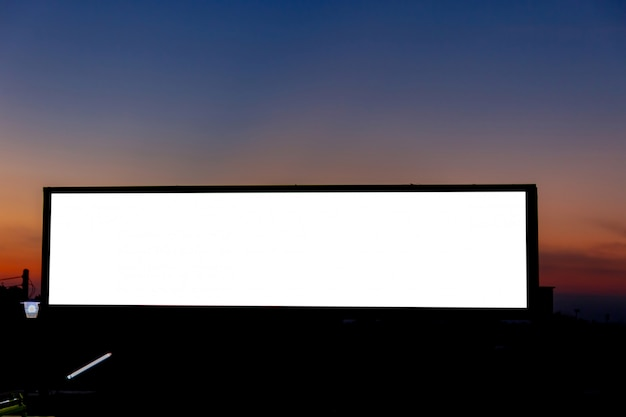 Mockup image of blank billboard white screen posters and led in the morning sky for advertising