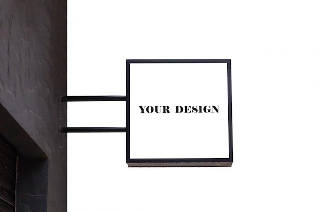 Mockup image of blank logo signboard outside shop for branding