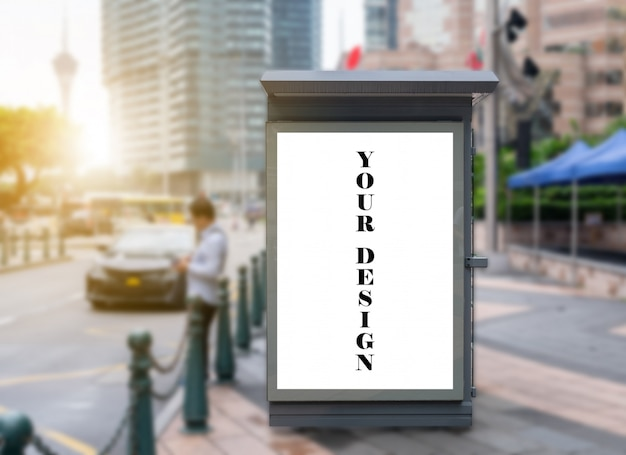 Mockup image of bus stop billboard light box for advertising