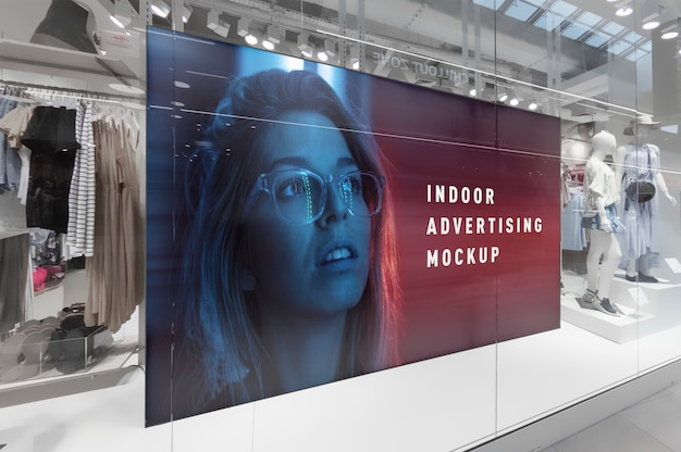 Mockup of indoor advertising horizontal billboard stand in mall shop ping centre shop window