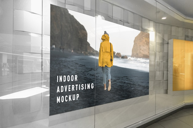 Mockup of indoor advertising inside mall shopping centre