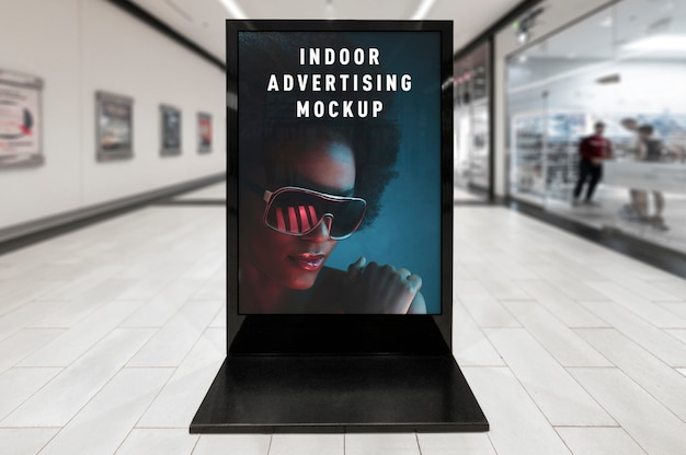 Mockup of indoor advertising vertical poster black stand in mall shop ping centre
