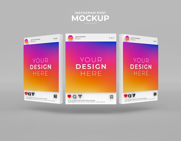 Mockup instagram post social media feed d render