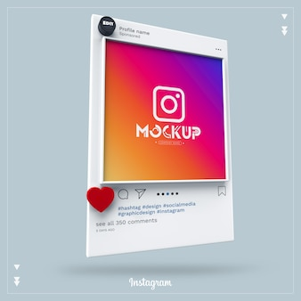 モックアップinstagramソーシャルメディア3d