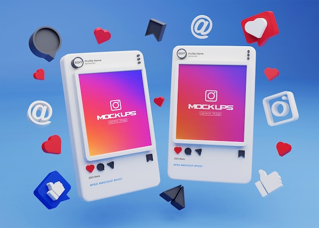 Mockup instagram 소셜 미디어 3d