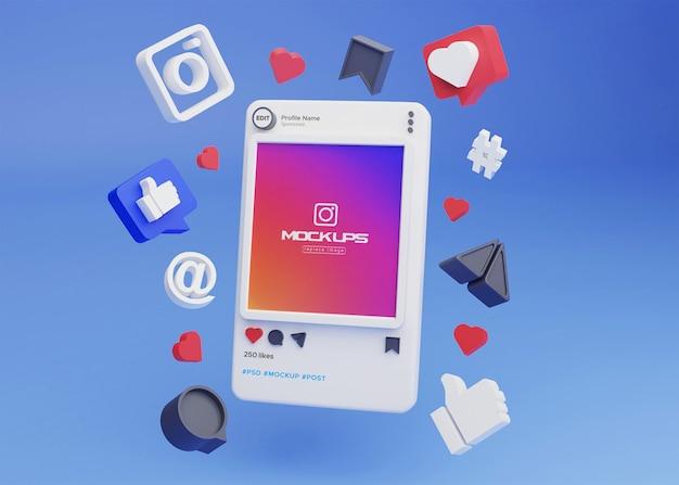 Макет instagram социальные сети 3d
