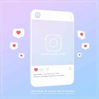 モックアップinstagramソーシャルメディア投稿3dデザイン