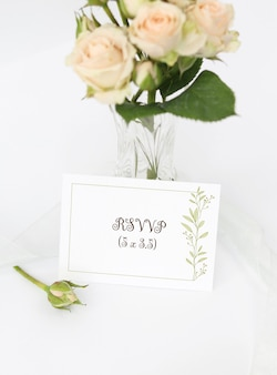 Mockup invitation card with bouquet roses in vase